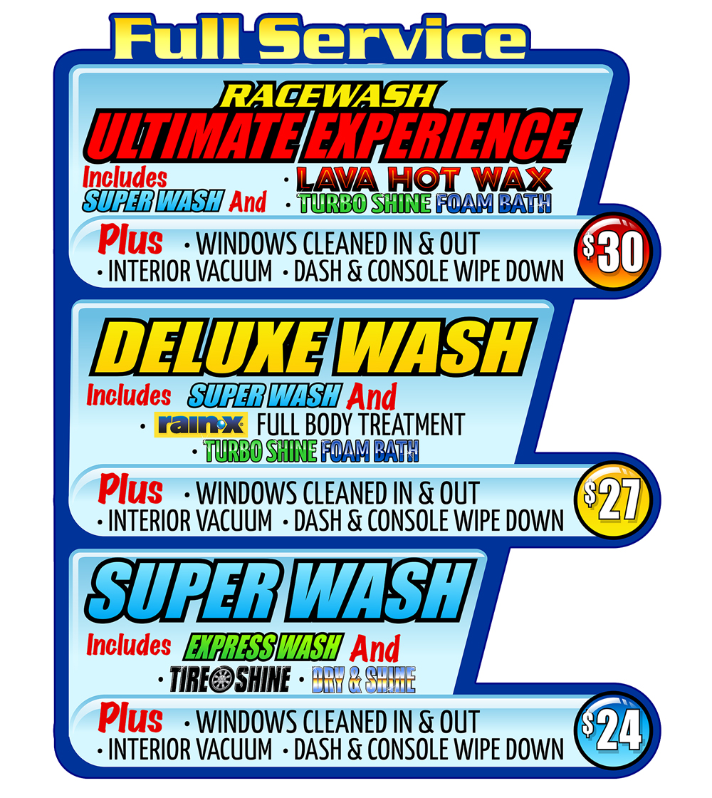 Full Service Car Wash packages